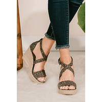 As You Please Leopard Wedges (Grey)