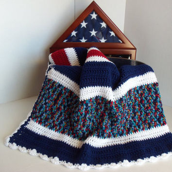Red White and Blue Crochet Afghan by SnugableTouches on Etsy