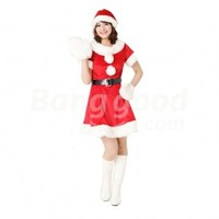 Lovely Thicken Women's Christmas Costumes Santa Red Princess Dress and Hat Free Shipping!  - US$17.50