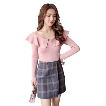 2017 Autumn Winter Women Peter Pan Collars Clothes Knitted Pullovers Undershirts Woman Thin Tight Slim Sexy Simple W13