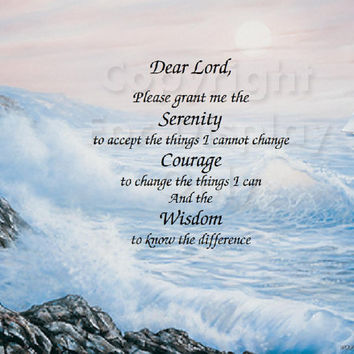 Inspirational Print Serenity Prayer on Lighthouse Background Printed ready to frame Wall Plaque Gift idea