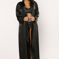 The Night Is Just Beginning Robe - Black