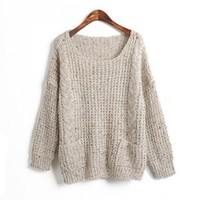 Round Neck Loose light gray round neck pullover  Other type  Solid Pop  style zz10160603 in Sweaters - Tops