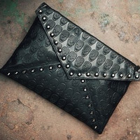 Korean Skull Rivet Decoration One Shoulder Bags [6046887233]