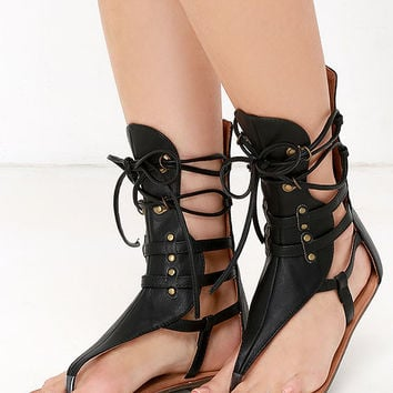 Sunchaser Black Lace-Up Thong Sandals