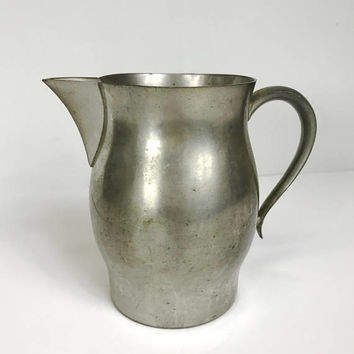 Vintage Pewter Pitcher Woodbury Pewters Aged Patina Metal Water Pitcher Jug Juice Pitcher Cider Pitcher Rustic Kitchenware Farmhouse Decor