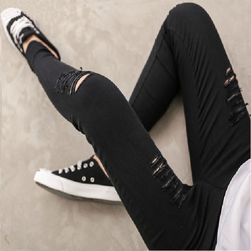 High Quality Woven Cotton Hole Ripped Jeans Leggings Pants Gothic Wash Leggings For Women