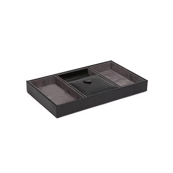WOLF Blake 4 Compartment Valet Tray - Black Lizard Leather