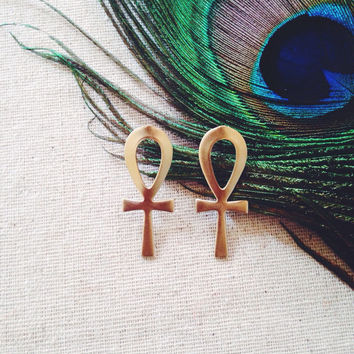 Large Ankh Stud Earrings // Key of Life, Ankh Studs, Gold Earrings, Ancient Egyptian Jewelry, Nefertiti, African Jewelry, Stud Earrings