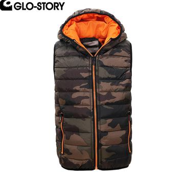 GLO-STORY Little Kids Boys Camouflage Sleeveless Military Jackets Boy Winter Thick Vest Hooded Coat BMJ-4710