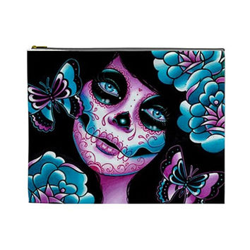 Memento Large Cosmetic Bag - Day of the Dead Dia De Los Muertos Tattoo Flash Sugar Skull Art Make Up Pencil Zipper Pouch 10 in x 8 in