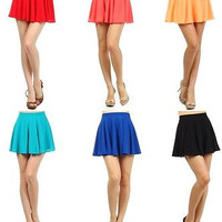 Sexy Solid Plain High Waist Pleated Jersey A-Line Skater Flared Mini Skirt S M L