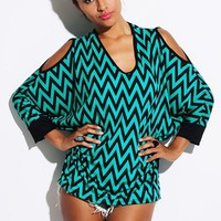 BLACK & BLUE CHEVRON TOP