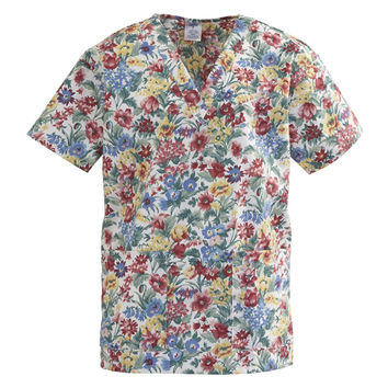 Medline ComfortEase Ladies V-Neck Two-Pocket Scrub Tops-Spring Mix Print
