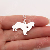 1pcs Border Collie Necklace Pendant Puppy Heart Dog Lover Memorial Pet Necklaces & Pendants Women Animal Charms Christmas Gift