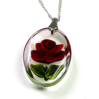 Vintage Necklace, Vintage Jewelry, Sterling Silver Chain, Red Rose Necklace, Crimson, Pendant Necklace, Romantic Jewelry, Valentines Day