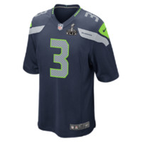 Nike NFL Super Bowl Seattle Seahawks (Russell Wilson) Kids' Football Game Jersey Size XL (Blue)
