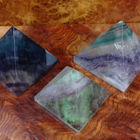 Pyramid - Fluorite Crystal - Rainbow Fluorite Display Piece - Multi Color Crystal Art - Polished Stone Statue - Healing Crystals and Stones