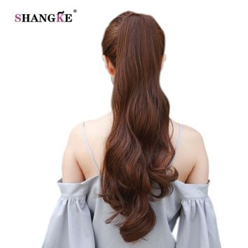 SHANGKE Hair Long Black Synthetic Ponytail Long Hair Natural Fake Hair Tail Hairpieces Women Hairstyles Heat Resistant Fake Hair