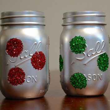 Christmas Decor, Holiday Decor, Winter Decor, Christmas Mason Jar Set, Winter Mason Jar, Holiday Mason Jar, Pint Sized Mason Jars Set of 2