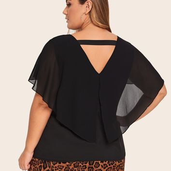 Plus Solid Chiffon Blouse With Cape