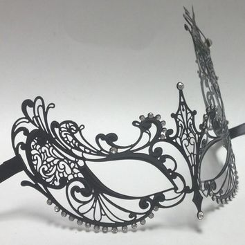 Beautiful Venetian Princess Black Laser Cut Masquerade Mask With Rhinestones