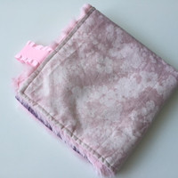 Baby Girl Lovey Blanket, Pink and Purple Hombre Flowers, Small Minky Security Blanket
