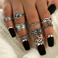 9 PC HAMSA Peace Boho Ring Set