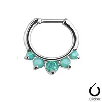 1 - Green Five Pronged Opal Princess Septum Clicker 316L Surgical Steel Rings F67