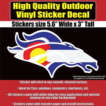 Denver Broncos Colorado Flag White Line Vinyl Car Window Laptop Bumper Sticker Decal