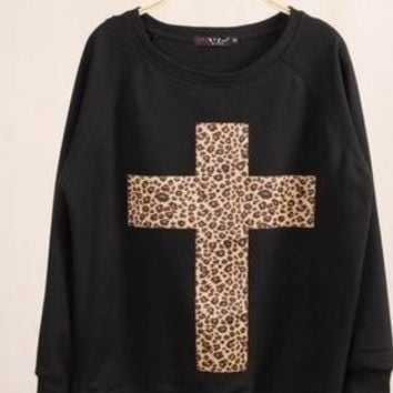 women's turtleneck sweatshirts harajuku animal print hoodies leopard Cross pullovers