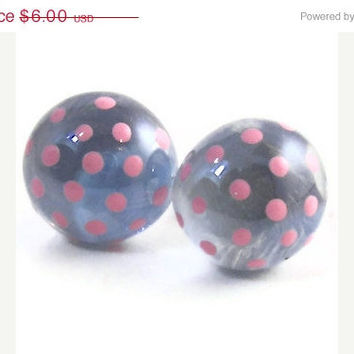 10% off Etsy SALE Small Light Sky Blue and Soft Pink Polka Dot Hand Painted Glass Stone Pebble Post Stud Earrings