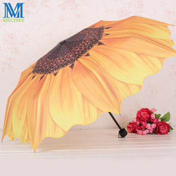 Creative Sunflower Umbrella 3 Folding Umbrellas for Rain and Sun Women Anti-UV Sunshade Umbrella