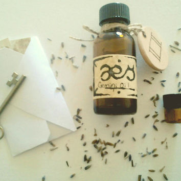 Gemini Oil: Spicy Flowers, Citrus, Peppermint, One Full Ounce Natural Perfumed Oil Inspired by the Planetary, Elemental, Herb Lore of Gemini