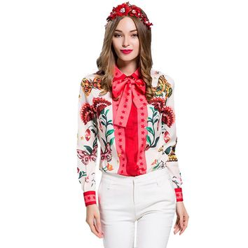 European American Women's 2018 Summer Long Sleeve Animal Flower Printed Plus Size XXXL Vintage Shirt Casual Blouse Tops
