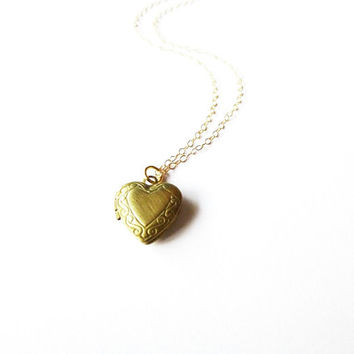 Small Gold Heart Locket Necklace  Victorian by dreamsbythesea