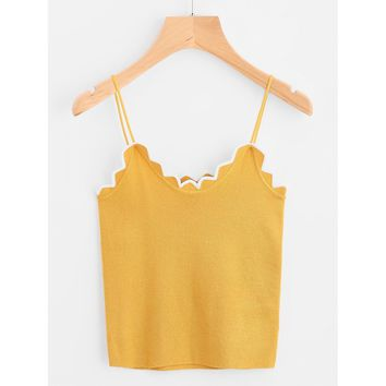 Contrast Scallop Trim Knit Cami Top
