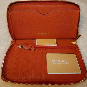 Michael Kors Wristlets Large Flat Multi Function Phone Case Orange Leather $108