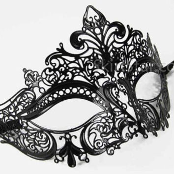 Luxury Black Metal Filigree Masquerade Ball Mask with Swarovski Diamante Crystals