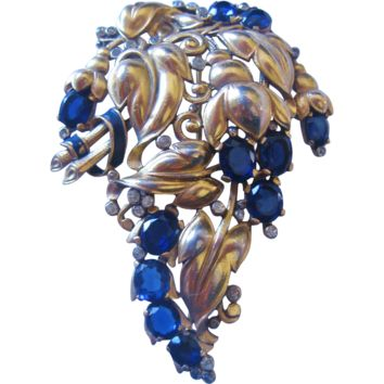 Vintage Early Trifari-Alfred Philippe-Floral Spray with Royal Blue Rhinestone Flowers-Pin Brooch
