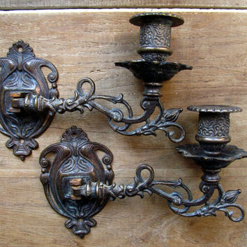 French Antique victorian pair of  piano candle wall sconces
