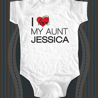 I love My Aunt Uncle Sister Brother Cousin custom baby one piece or shirt for Infant, Toddler, Youth - design 4