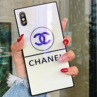 Chanel Trending Stylish Square Blue-Ray Glass All-Inclusive Cellphone Case For iphone 6 6s 6plus 6s-plus 7 7plus iphone 8 iphone X Protective Shell White I12712-1