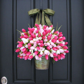 SUPER SALE on NOW Pink Tulips - Bucket of Spring Tulips - Spring Arrangement