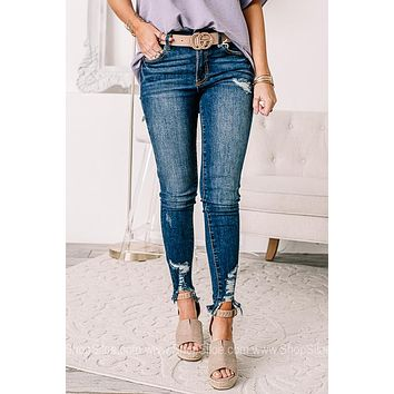 Haley Cait Distressed Ankle Skinny Jeans