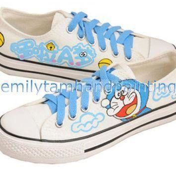 ICIKGQ8 custom doraemon converse sneakers low cut hand painting cartoon canvas shoes