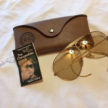 1960's VINTAGE B&L RAY BAN CHANGEABLES WRAP-AROUNDS SHOOTING AVIATOR SUNGLASSES