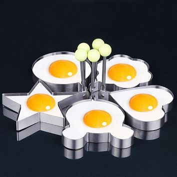 (5 pcs/set) Star Heart Shaper Fried Egg Mold Ring Cooking Tools Kitchen Gadgets Kitchen Stainless Steel Thick Cook Pancake Mold