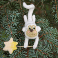 Christmas ornament, felted monkey, symbol of  2016, white