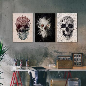 Original Skulls Set Of 3 Wood Print, 3 Set Wood Wall Art, Skull Print Panels